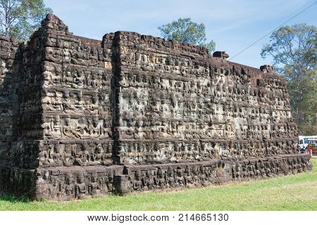 Siem Reap, Cambodia - Dec 10 2016: Terrace Of The Leper King In Angkor Thom. A Famous Historical Sit