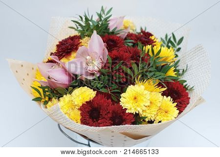 Autumn bouquet with Crysanthemum flowers Bouquet Wraped