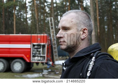 Belarus Gomel 04/06/2017 extinguishing forest fire.BelarusFire man.Profession firefighter. Man is a lifesaver. Forest fires. Fighting fire