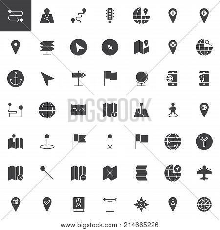 Map pointer, gps marker vector icons set, modern solid symbol collection, filled style pictogram pack. Signs, logo illustration. Set includes icons as
