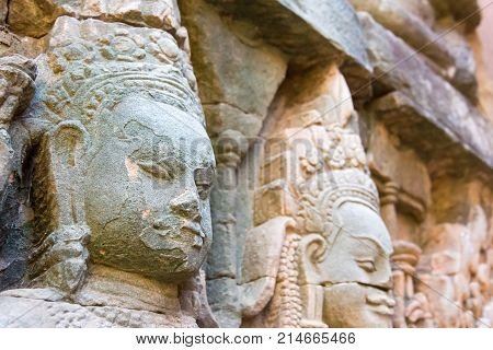 Siem Reap, Cambodia - Dec 10 2016: Relief At Terrace Of The Leper King In Angkor Thom. A Famous Hist