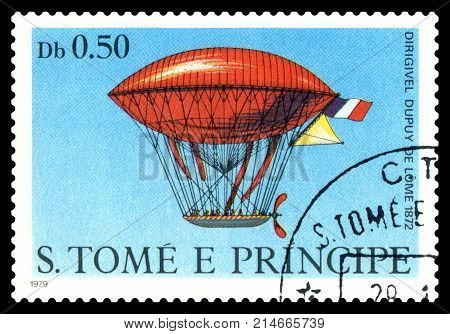 STAVROPOL RUSSIA - November 11.2017: A stamp printed in Sao Tome and Principe shows an Dirigible Dupuy de Lome 1872 cirka 1979