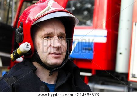 Belarus Gomel 04/06/2017 extinguishing forest fire.BelarusFire man.Work firefighter. Extinguish the fire. Rescue work. Exercises of rescuers