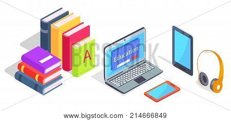 Electronic devices laptop and wireless headphones with tablets and piles of books vector 3D illustrations isolated on white background