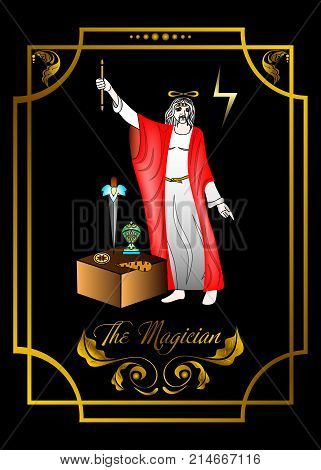 the illustration - card for tarot - the magician.