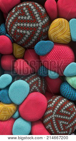 3D rendering of colored floating spheres with a knitted texture. Abstract composition. Group of spheres levitate in zero gravity