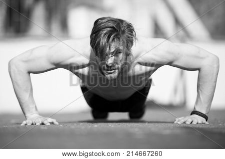 Muscular Man Doing Push Ups, Male Athlete Exercising Push Up