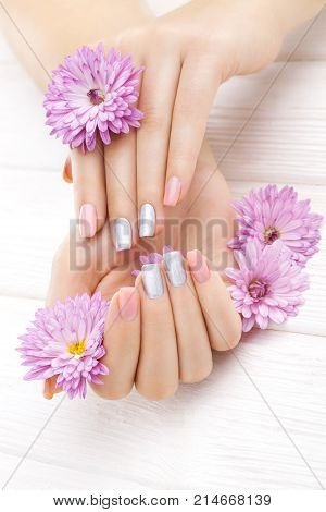 beautiful pink manicure with chrysanthemum flowers. spa