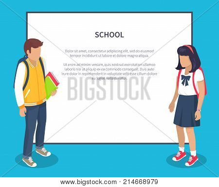School children from secondary school with backpacks, vector illustrations isolated with place for text. Pupils cartoon characters