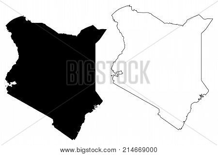 Kenya map vector illustration , scribble sketch Republic of Kenya