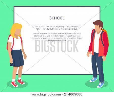 School pupils cartoon characters with place for text. Children from secondary school with backpacks, vector illustrations isolated