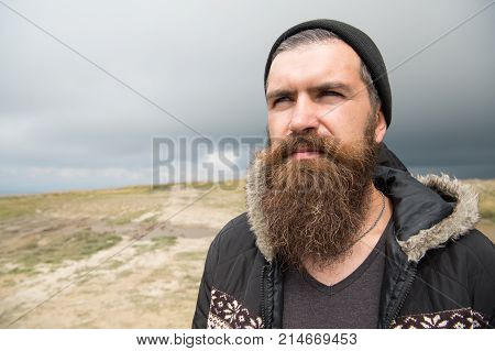 Guy Or Bearded Man At Cold Weather.