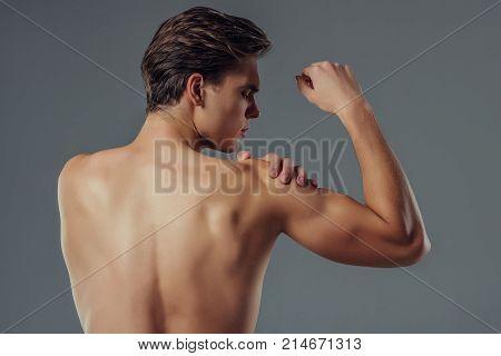 Handsome Man On Grey Background
