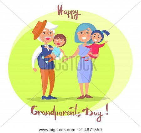 Happy grandparents day poster with senior couple holding children on hand, grandpa and grandma with kids vector illustration postcard in circle on white