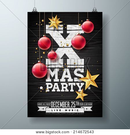 Vector Christmas Party Flyer Design with Holiday Typography Elements and Ornamental Ball, Cutout Paper Star on Vintage Wood Background. Premium Celebration Poster Illustration