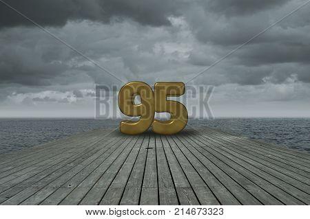number ninety-five on wooden floor at ocean
