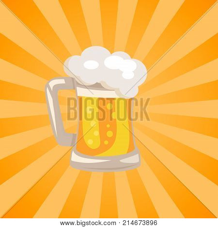 Traditional glass of beer with white foam and bubbles vector isoated illustration. Light alchoholic beverage in transparent mug with handle