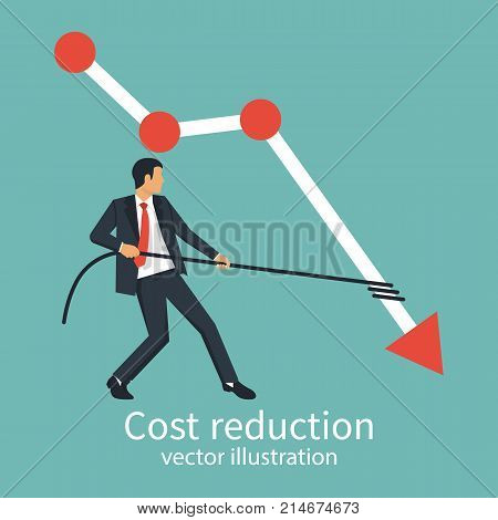 Cost reduction concept. Businessman pulls rope dropping arrow down. Cost down. Decrease arrow graph. Vector illustration flat design. Isolated on background. Declining chart. Down profit.