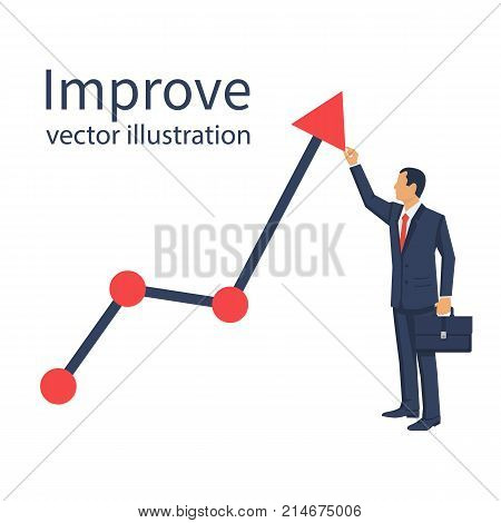 Improve business concept. Changing direction. Growth graph trade. Vector flat design. Profit Stock Market. Businessman raises schedule upwards. Man changing direction business chart. Financial diagram