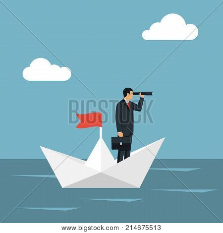 Vision business concept. Successful businessman standing on paper ship looking in telescope, seeing future. Vector design. Spyglass in hand. Search solution. Forward looking person. Miniature people