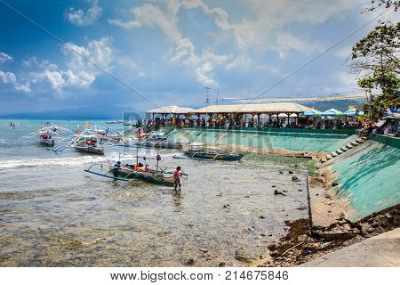 SABANG, PHILIPPINES-MARCH 27, 2016, Sabang boat line to cave entrance of Puerto Princesa subterranean underground river, one of the 7 New Wonders of Nature, on March 27, 2016.Palawan,