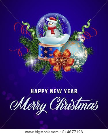 Happy New Year Merry Christmas lettering with snowglobe, bauble and fir branches. Celebration, invitation, festivity. Holiday concept. Can be used for greeting card, postcard, brochure