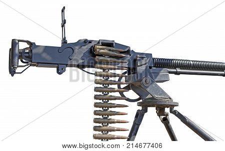 Soviet heavy machine gun firing the 12.7 on white background