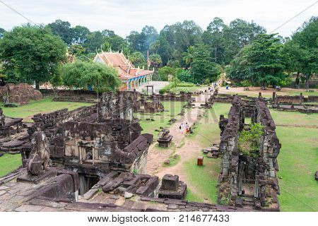 Siem Reap, Cambodia - Dec 01 2016: Bakong In Roluos Temples. A Famous Historical Site(unesco World H