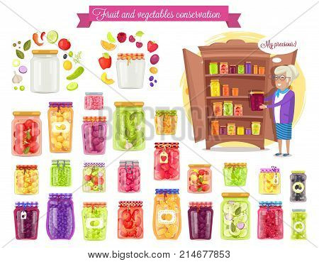 Fruit and vegetable conservation, my prescious shown on vector illustration, including granny and types of fruit jam and jar variants