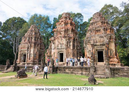 Siem Reap, Cambodia - Dec 01 2016: Preah Ko In Roluos Temples. A Famous Historical Site(unesco World