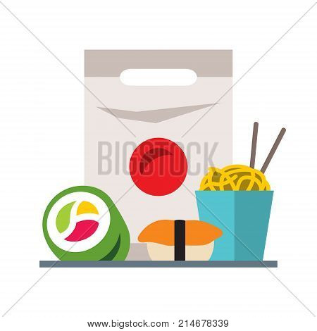 Donut, hamburger, drink, sushi, rolls french fries Isolated on a white background