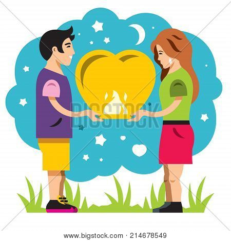 Boy and girl playing launches into the sky paper lantern. Isolated on a White Background