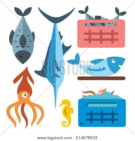 Fish, marlin, squid, sea horse, crucian and two containers. Isolated on a color background