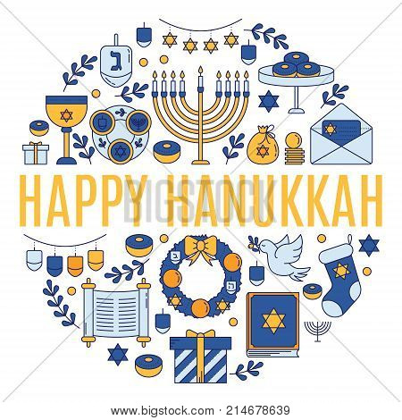 Vector greeting card with Hanukkah symbols made in trendy linear style isolated on white background