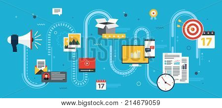 Advertising and marketing communication icons. Concepts for business marketing analytics and strategy in social networks and social media. Flat design vector illustration.