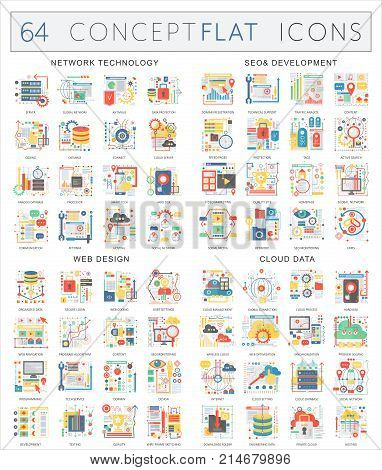 Infographics concept icons of network technology, seo development, web design, cloud data. Premium quality vector flat design for web graphics isolated