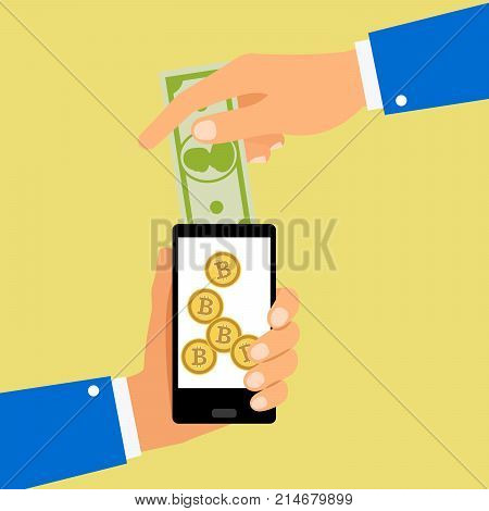 Hands holding smartphone convert dollar bill to bitcoin coins, vector illustration