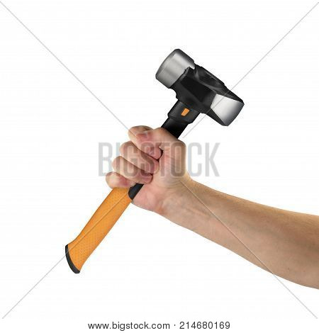 Objects tool hands action - Hand big hammer worker hand isolated white background.
