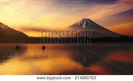 Shoji Lake With Mt. Fuji At Sunrise