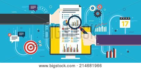 Financial investment analytics with growth report. Calculations and graphs of gains on the stock market and real cash earnings. Successful business. Flat design vector illustration concept.
