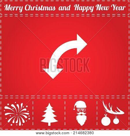 Turn arrow Icon Vector. And bonus symbol for New Year - Santa Claus, Christmas Tree, Firework, Balls on deer antlers