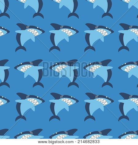 Angry shark seamless pattern. Marine wildlife vector flat style wallpaper. Underwater character background.