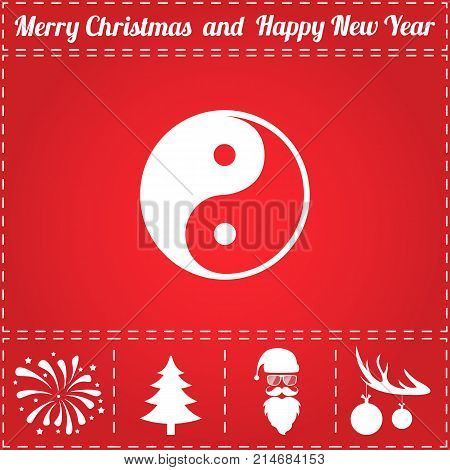 Ying yang Icon Vector. And bonus symbol for New Year - Santa Claus, Christmas Tree, Firework, Balls on deer antlers