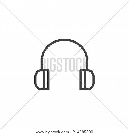 Headphones line icon, outline vector sign, linear style pictogram isolated on white. Listen to music symbol, logo illustration. Editable stroke
