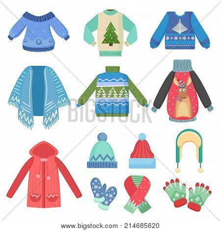 Set of christmas design warm winter clothes. Scarf, winter hat, coat and hats, jacket and gloves. Winter fashion vector illustration