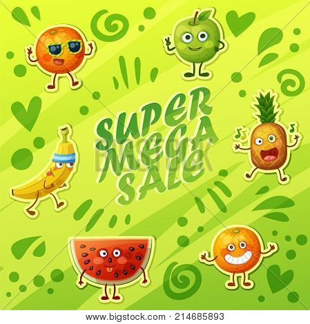 Bright green background with crazy funny fruit characters. Cheerful food emoji present super sale banner. Cartoon vector illustration: green apple, banana, cheerful orange, fool watermelon, pineapple