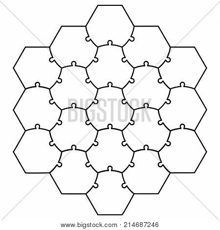 Hexagonal jigsaw puzzle template puzzle vector puzzle form a honeycomb, a template for creating Board games