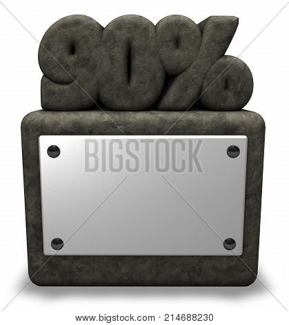 stone number ninety and percent symbol on stone socket - 3d rendering