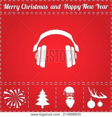 Earphones Icon Vector. And bonus symbol for New Year - Santa Claus, Christmas Tree, Firework, Balls on deer antlers