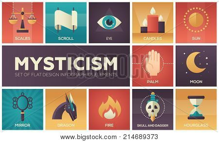 Mysticism - set of flat design infographics elements. Colorful collection of square icons, magic theme. Scales, scroll, eye, candles, sun, palm, moon, mirror, dragon, fire, skull and dagger, hourglass